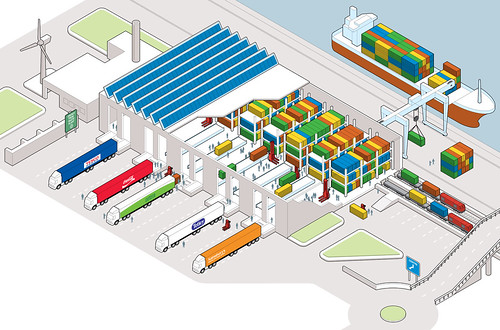 Warehouse of the future illustration for the grocer for Draw layout warehouse