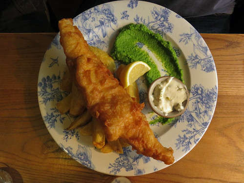 Fish & Chips with Mushy Peas at the Windmill Inn in England