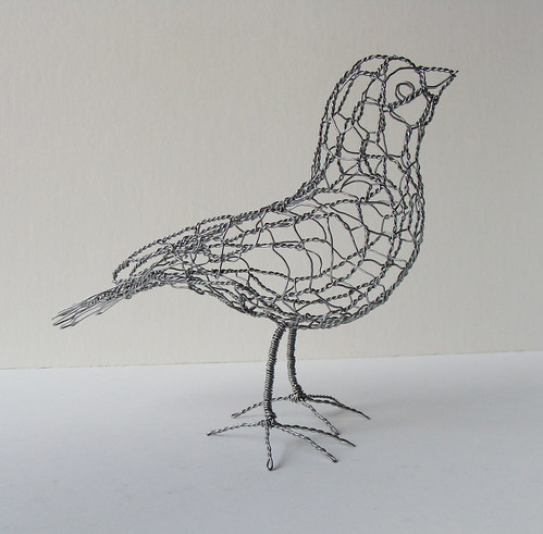 Wire sculpture bird b20 right one of 25 wire birds for How to make a 3d bird sculpture