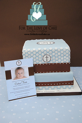 baptism cake to match tiny prints invitation a baby blue a flickr