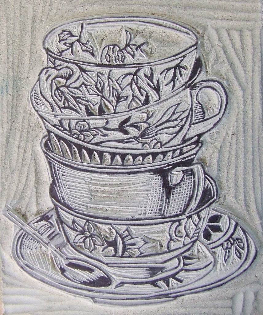 Teacups Linocut I Started Carving This At The Market