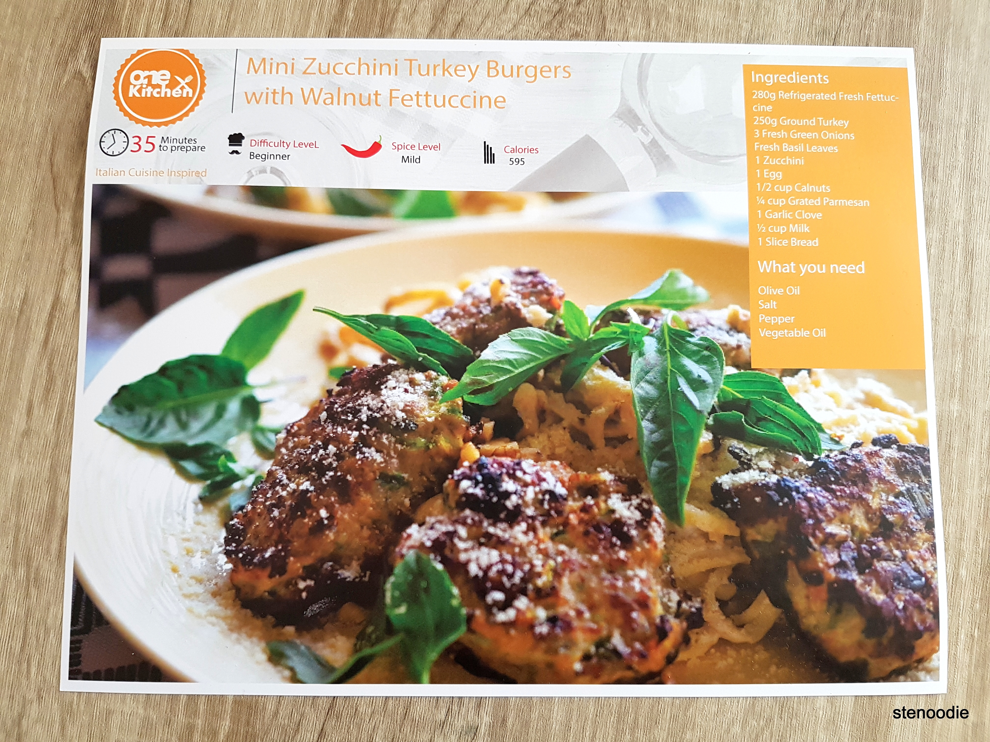 Mini Zucchini Turkey Burgers with Walnut Fettucini recipe card