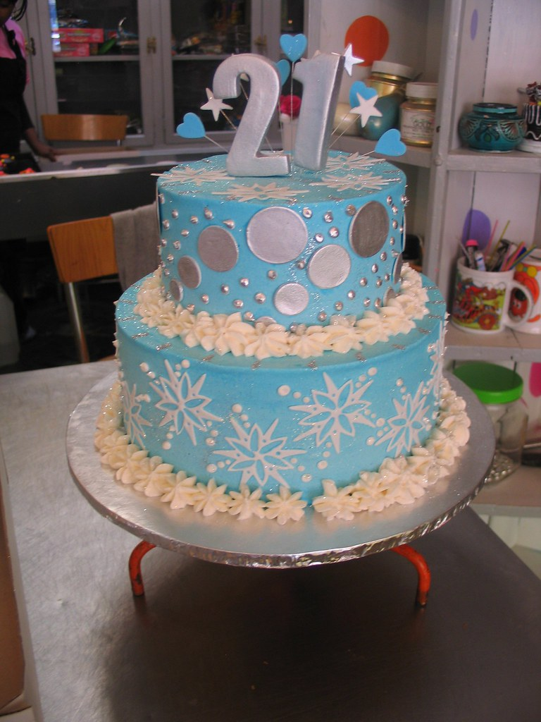 2 tier birthday cake snowflakes and dots blue white and Flickr