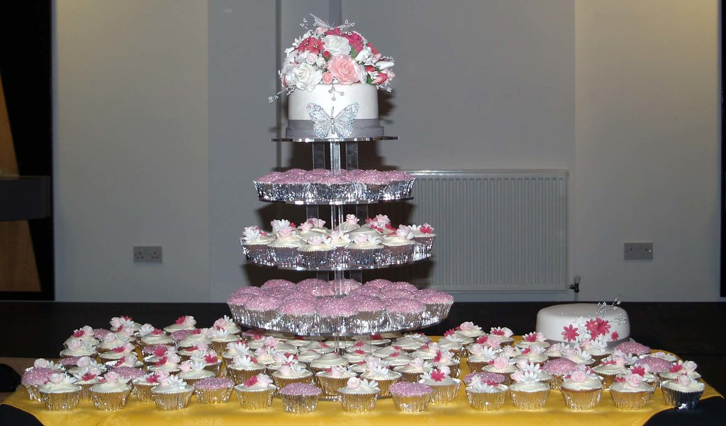 Pink and silver wedding cake with cupcake tower   Sugarposy   Flickr