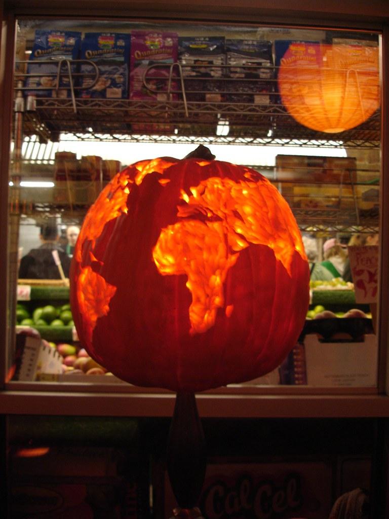 Carved pumpkin at manhattan fruit exchange in chelsea mark