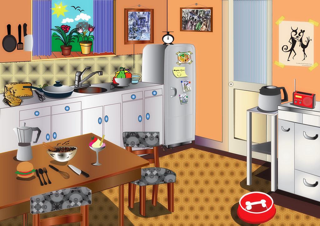 cocina con illustrator dibujo vectorial de una cocina