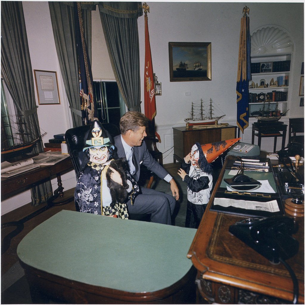 jfk in oval office. Halloween Visitors To The Oval Office. Caroline Kennedy, President John F. Jfk In Office E