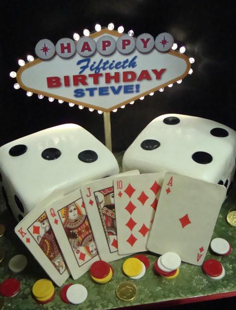 poker cake - poker/ vegas themed cake with lighted sign ...