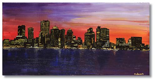 Boston Skyline Boston Skyline Original Acrylic Painting