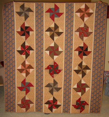 """Double Pinwheel Strippy"" Quilt - 1800's Reproduction 