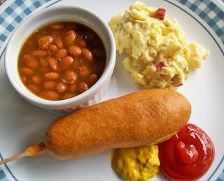 Corn Dog, Baked Beans,...