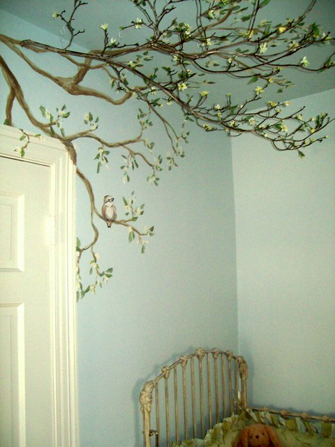 Mural And Real Tree Branch Over Crib Custom Mural By