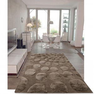 Tapis contemporain mix 2 hauteurs de m ches coccoon chocol for Tapis salon contemporain