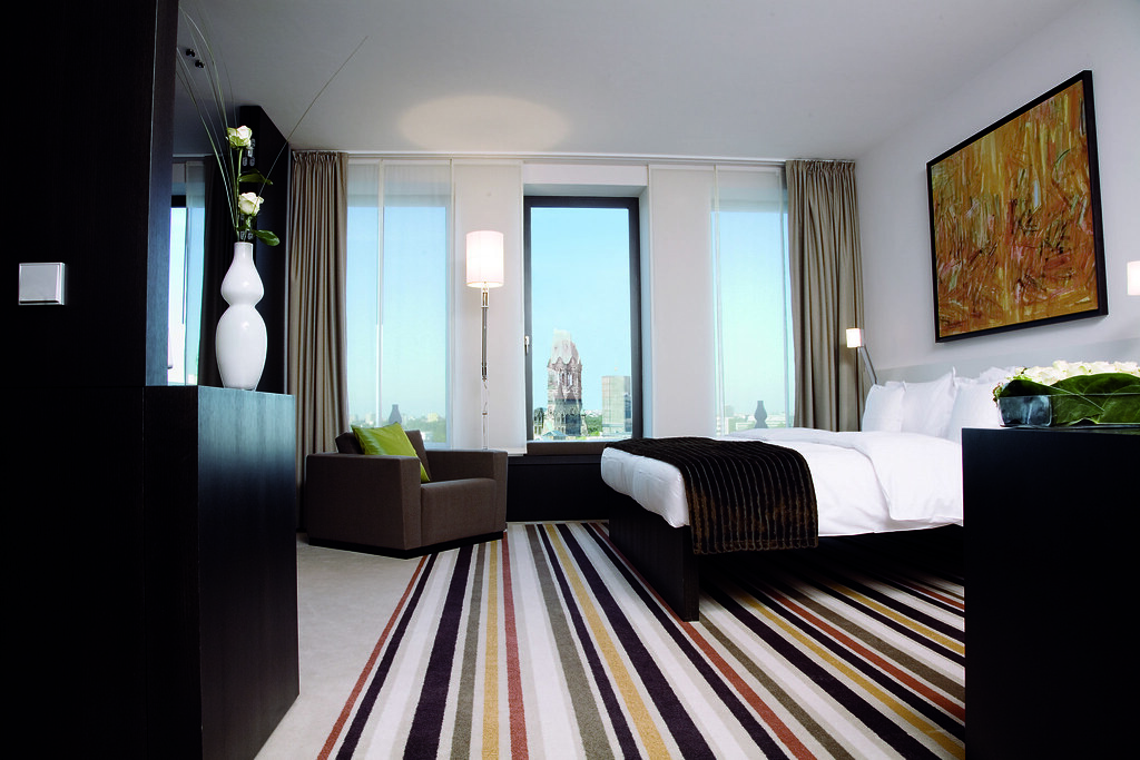 Hotel Room Window : Modern executive room with large windows and cool stripped
