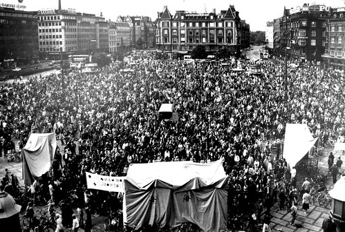 Cyclist Demonstration on City Hall Square 1970s - Copenhagen | by Mikael Colville-Andersen