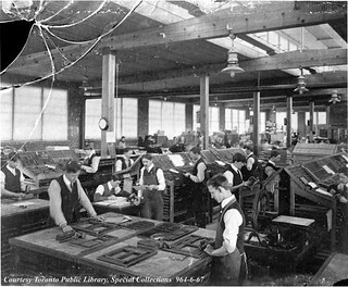 Copeland-Chatterson Company, loose-leaf systems factory composing room, Brampton, Ontario ca. 1905 | by Toronto Public Library Special Collections