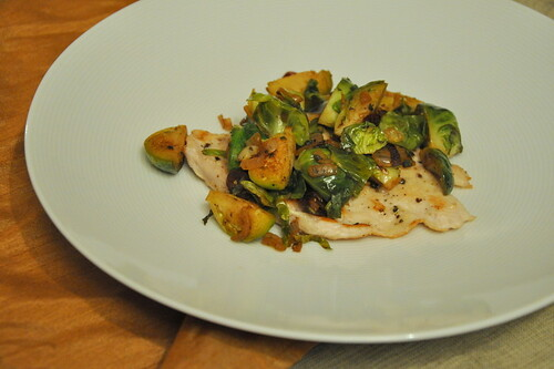Turkey Cutlets with Brussels Sprouts and Dried Cranberries | by Turntable Kitchen