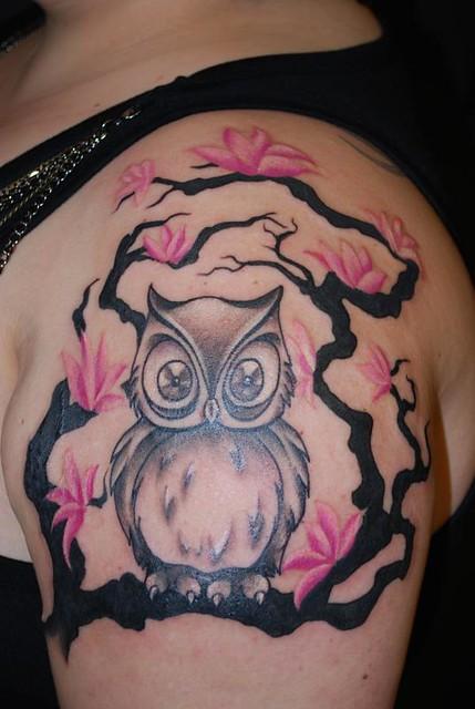 Owl And Cherry Blossom Tree Tattoo Abbychuela Flickr