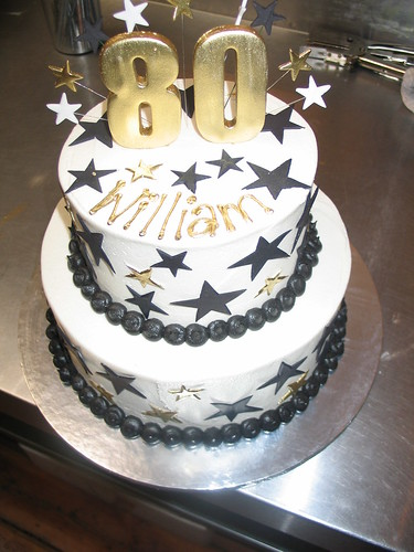 2 Tier Birthday Cake White Butter Icing Black Amp Gold Star