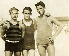 1930s Three Men On Beach TankTop Swimsuits Swim Trunks Shirtless | by Christian Montone