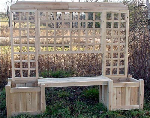 Double Planter Bench W Lattice This Convenient White
