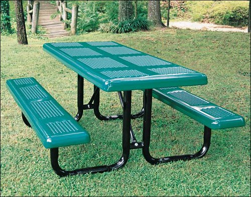 Rectangular Perforated Metal Picnic Table Our