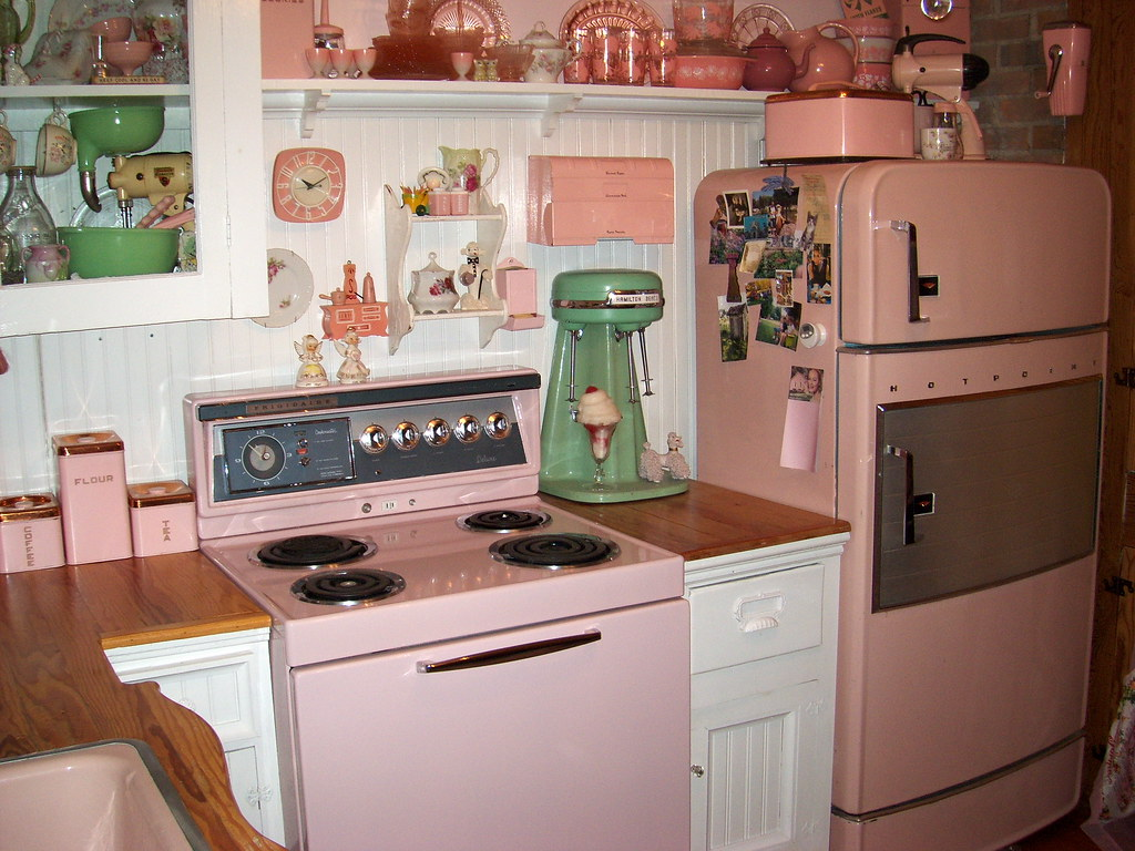 Medium image of     pretty in pink 1950s kitchen   by outhouse man