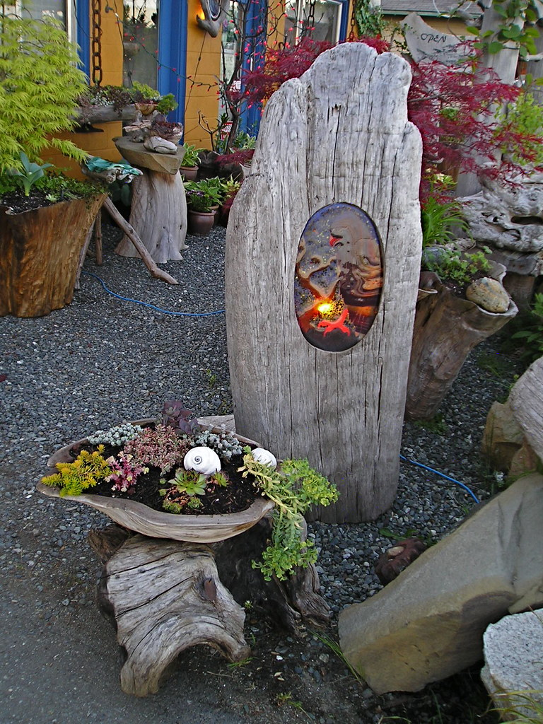 Garden Light Fused Glass Light In Driftwood With