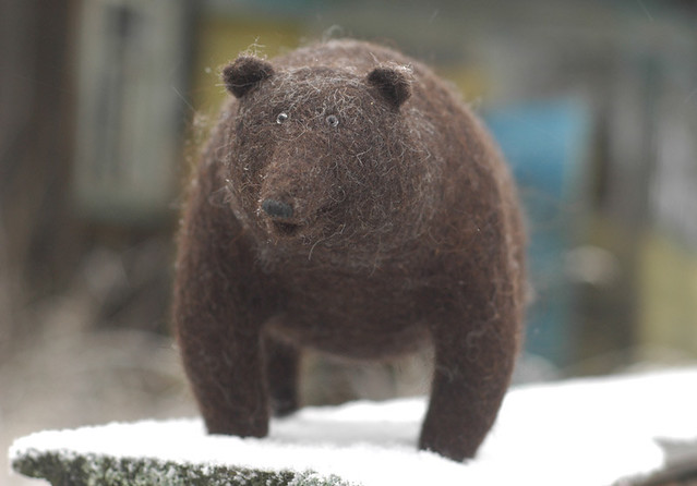 fat bear, needle felted | fat needle felted bear. more ...