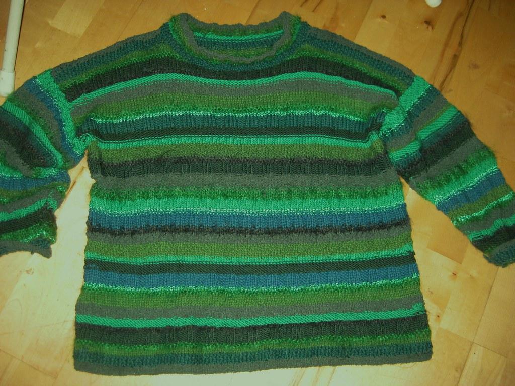 Green pullover Freeform knitting (kind of) alternating str? Flickr