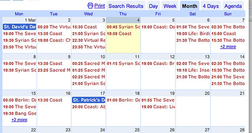 Events from feed imported into spreadsheet then into a calendar | by psychemedia