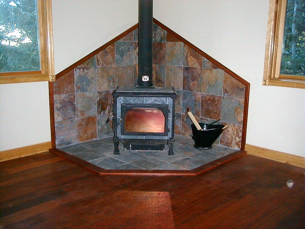 Wood stove surround ideas -  Slate Tile Wood Stove Surround By Kmswoodworks