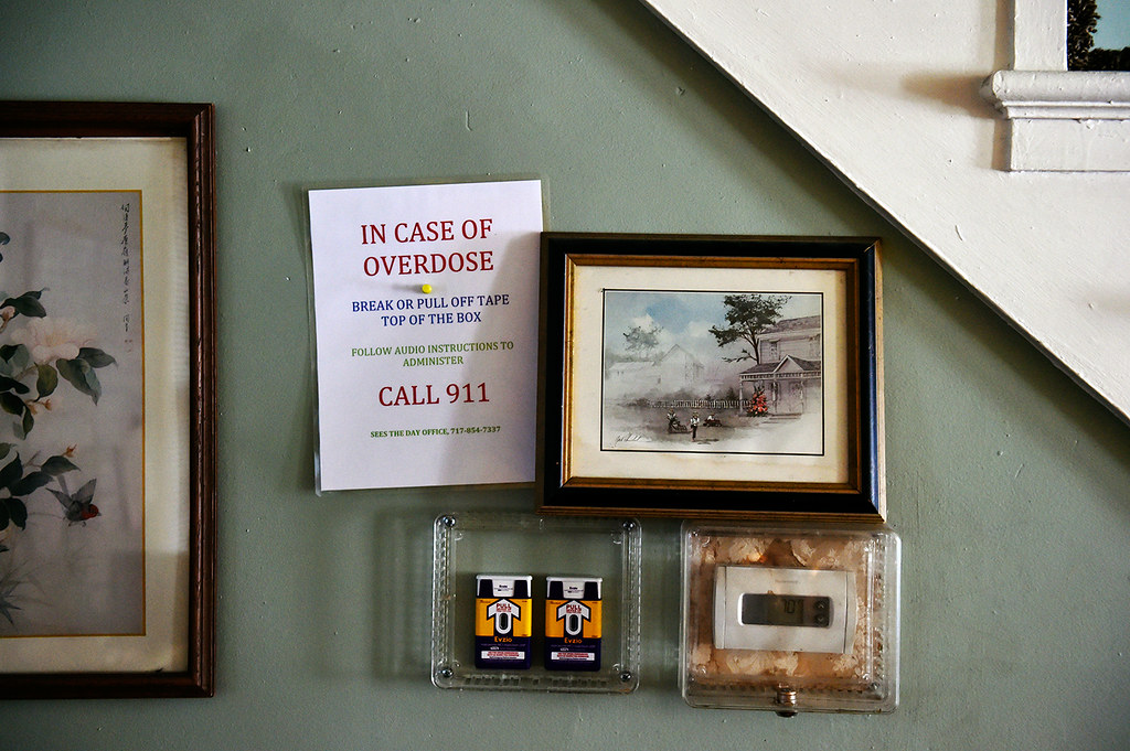 © 2016 by The York Daily Record/Sunday News. Two doses of naloxone, a drug that effectively reverses an opioid overdose, are encased next to the living room thermostat of a Linden Avenue recovery house operated by Sees-the-Day, as seen Wednesday, Feb. 10, 2016.