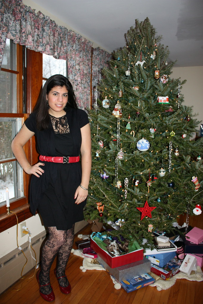 Black Lace Dress Black Shrug Red Mary Janes Lace Tights