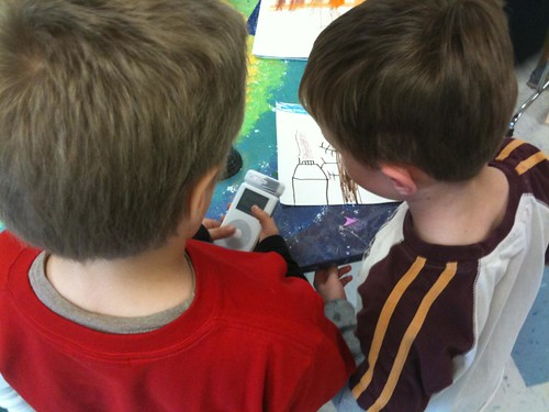 Students recording audio about a picture using an iPod | by Wesley Fryer