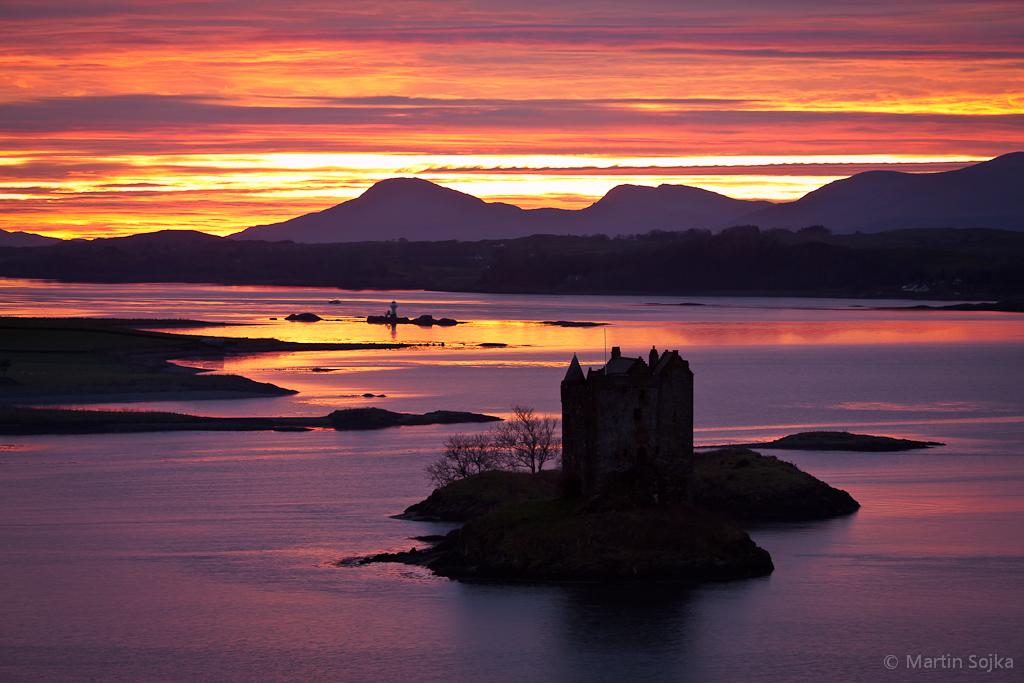 Sunset over Castle Stalker ~ Loch Laich, Scotland | View ...