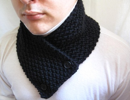 Hand knitted wool scarf neck warmer scarflette cowl chunky ...
