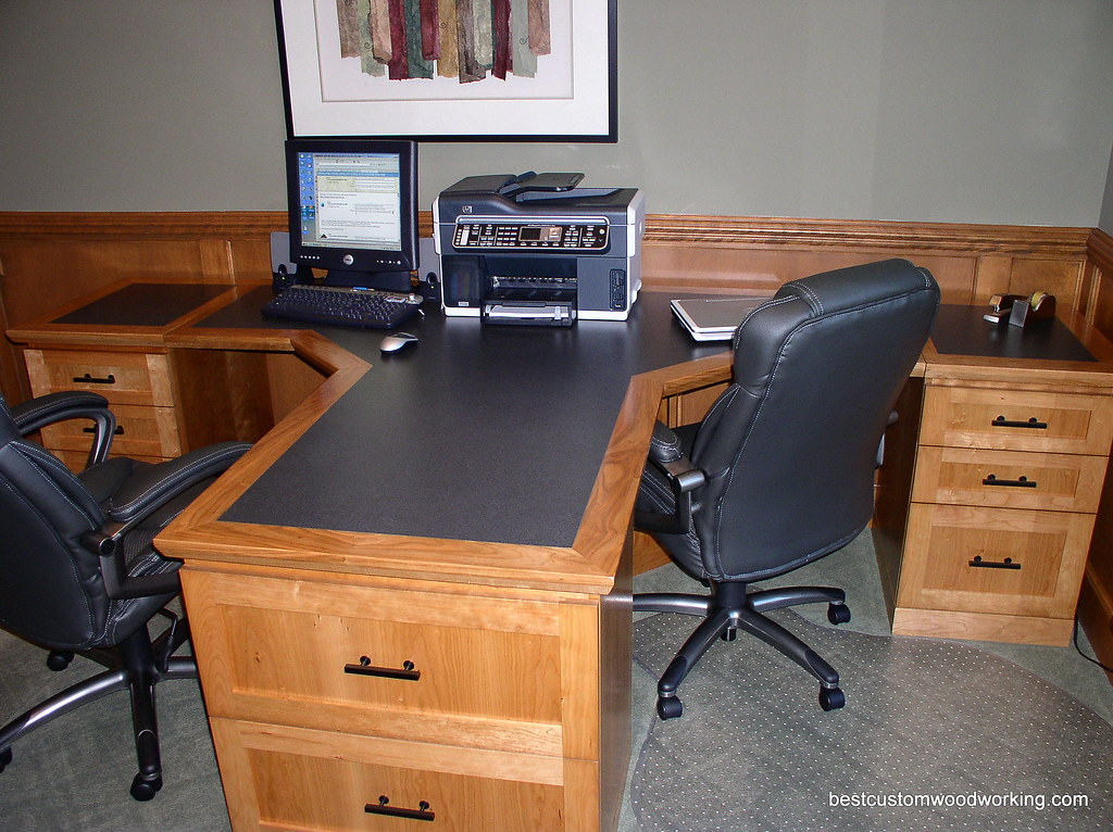 Custom cherry partner desk two person custom made Desk for two persons