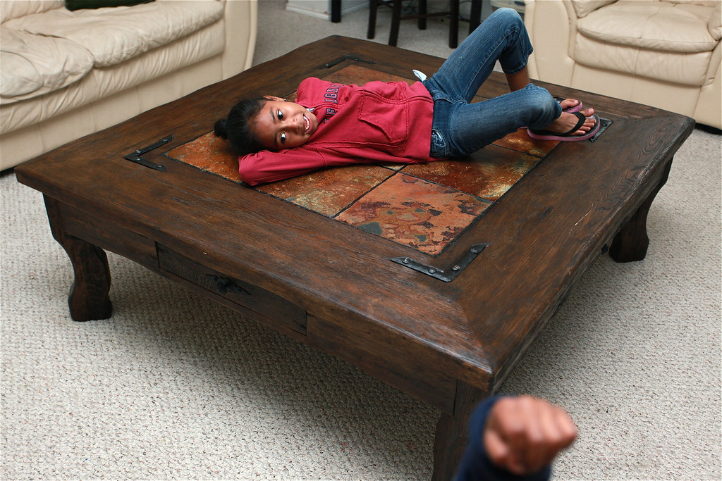 Oversized rustic wooden coffee table with slate tile inser for Rustic oversized coffee table