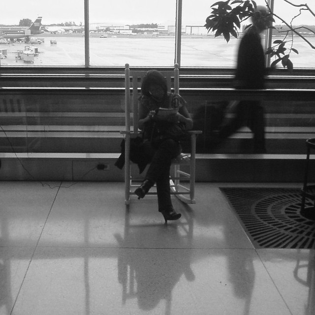 Rocking chair  Charlotte airport is full of these rocking c ...
