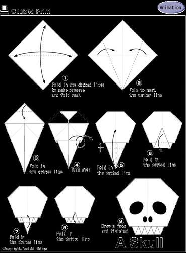 Calavera origami halloween mas cositas para que estei flickr - Tete de mort origami ...