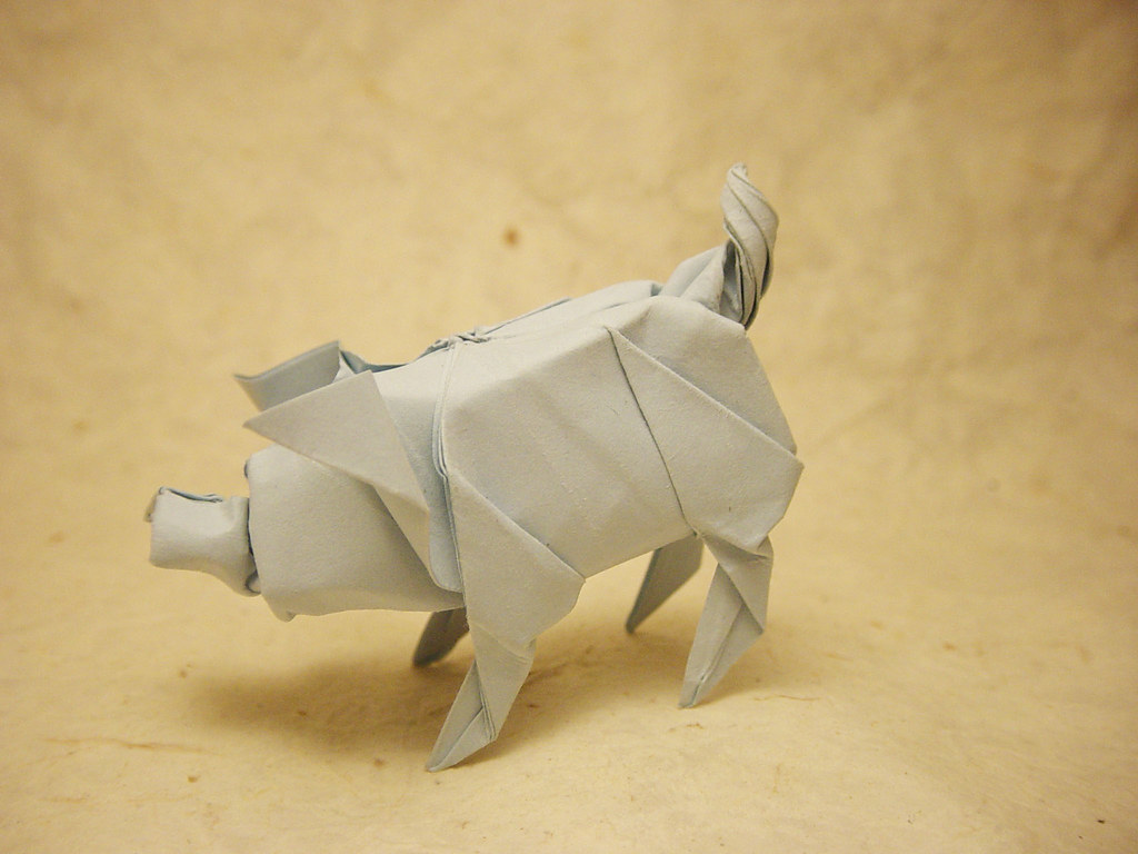 Pig (test fold) | My own design, folded from a 15 cm ... - photo#22