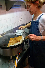 frying crepes | by David Lebovitz