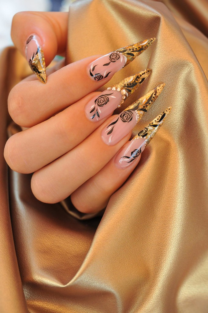 Gold Nail Art Design With Rose 02 Gold Nail Art Design Wit Flickr