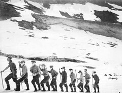 Climbing guide Fairman B. Lee with a party of hikers on Nisqually Glacier, Mount Rainier | by UW Digital Collections