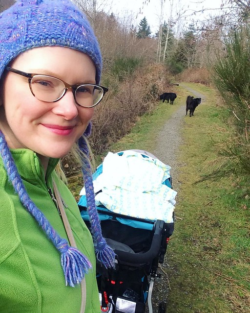 FINALLY: at 7 weeks old, I managed to get him in the car seat with a minimum of fussing, put the car seat in the Bob and walk the dogs by myself! Seems so simple but has been so hard. 😅
