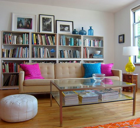 bookcase behind sofa from designsponge | Flickr - Photo Sharing!