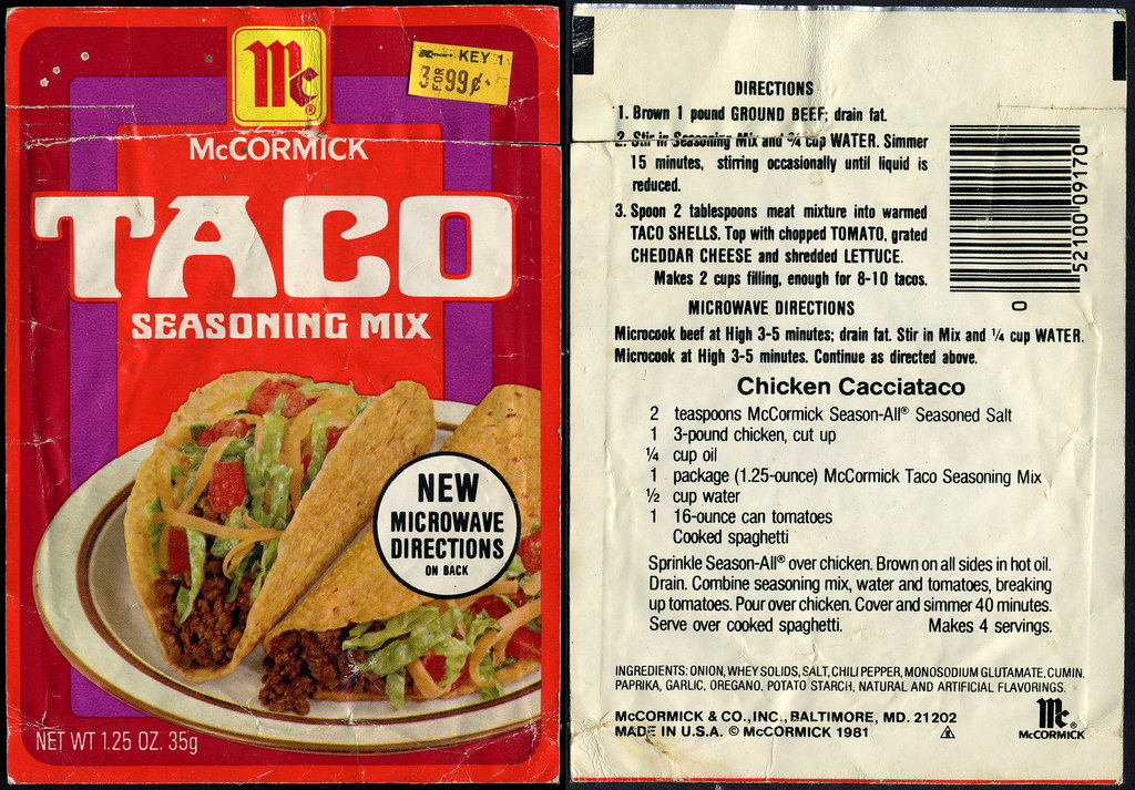 Taco seasoning package