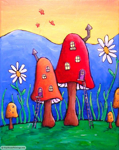 Gnome Home Original Art Painting Original Acrylic