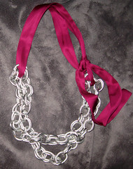 chain necklace doubled with berry satin sash | by ...love Maegan